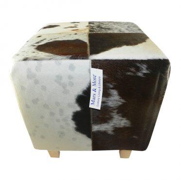 Hocker koeienhuid bruin/wit