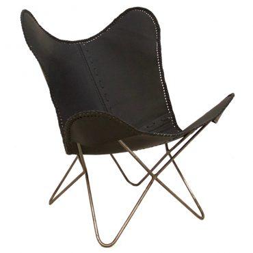 Vlinderstoel leer zwart (pole to pole)